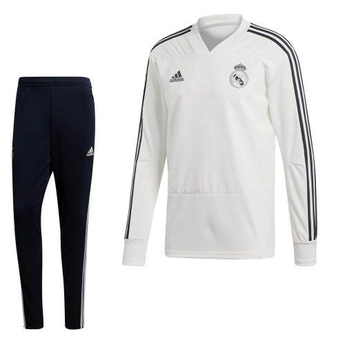 adidas Real Madrid Top Trainingspak 2018-2019 Cream White