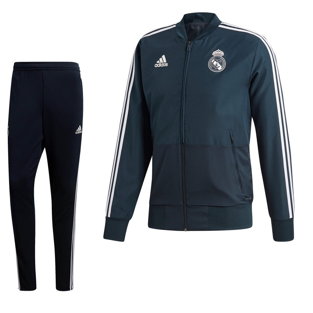 adidas Real Madrid Trainingspak 2018-2019 Teconi Cream White