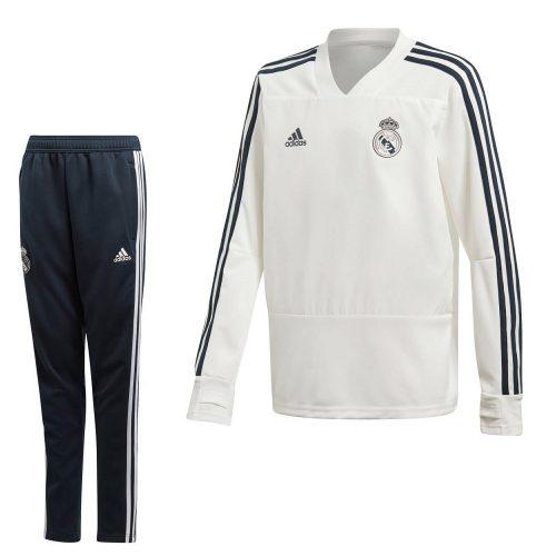 adidas Real Madrid Top Trainingspak 2018-2019 Kids Cream White Teconi