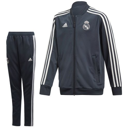 adidas Real Madrid Presentatie Trainingspak 2018-2019 Kids Donkergrijs Wit