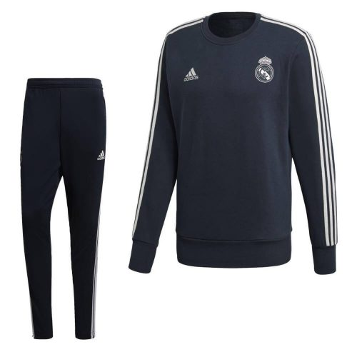 adidas Real Madrid Sweat Trainingspak 2018-2019 Donkerblauw Wit