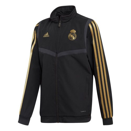 adidas Real Madrid Presentatie Trainingsjack 2019-2020 Kids Zwart Goud