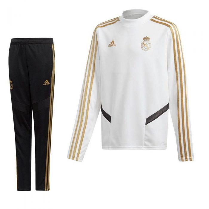 adidas Real Madrid Top Trainingspak 2019-2020 Kids Wit Goud