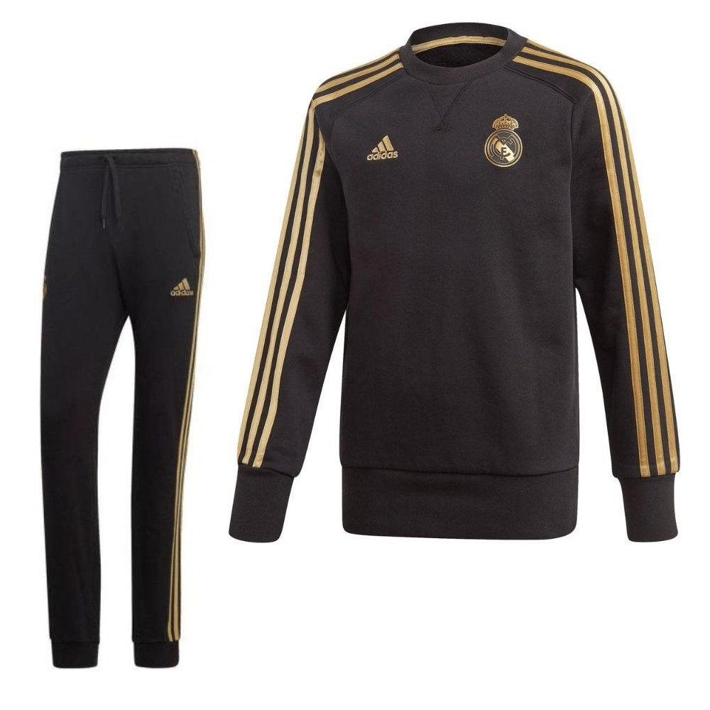 adidas Real Madrid Sweat Trainingspak 2019-2020 Kids Zwart Goud