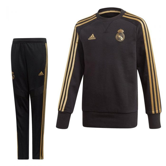 adidas Real Madrid Sweat Trainingspak 2019-2020 Kids Zwart Goud