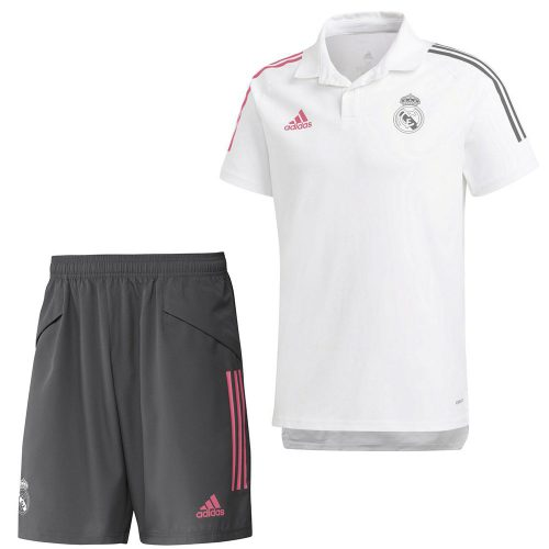 adidas Real Madrid Polo Trainingsset 2020-2021 Wit
